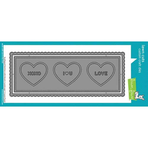 Lawn Fawn LANDSCAPE SCALLOPED SLIMLINE WITH HEARTS Die Cuts lf2476 Preview Image