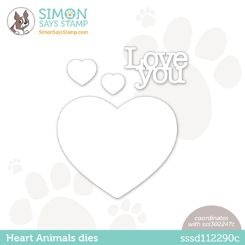 Simon Says Stamp HEART ANIMALS Wafer Dies sssd112290c Love You