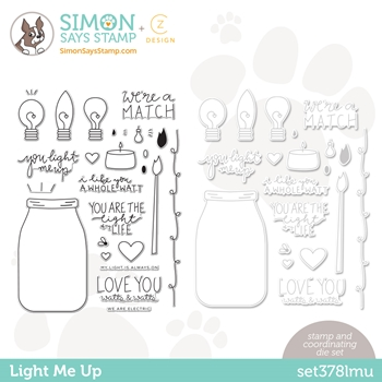 CZ Design Stamps and Dies LIGHT ME UP set378lmu Love You