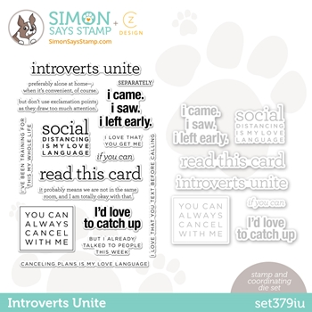 CZ Design Stamps and Dies INTROVERTS UNITE set379iu Love You