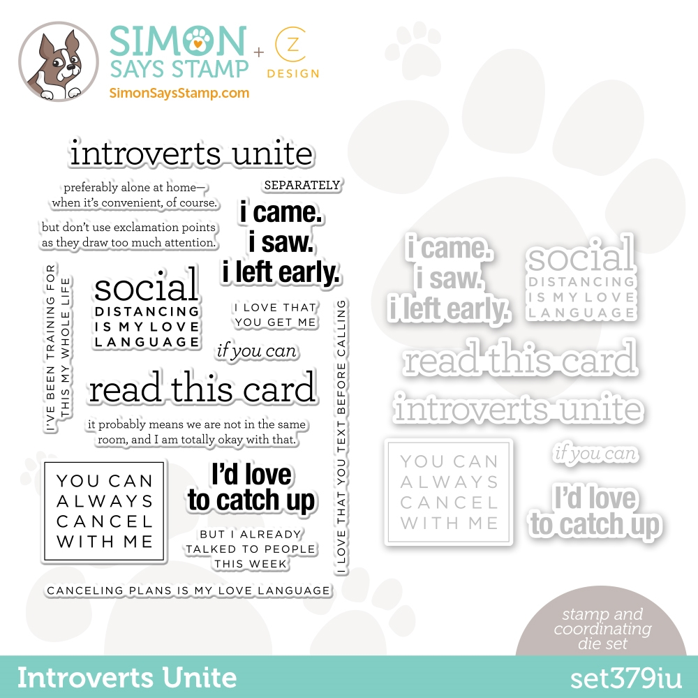 CZ Design Stamps and Dies INTROVERTS UNITE set379iu Love You zoom image