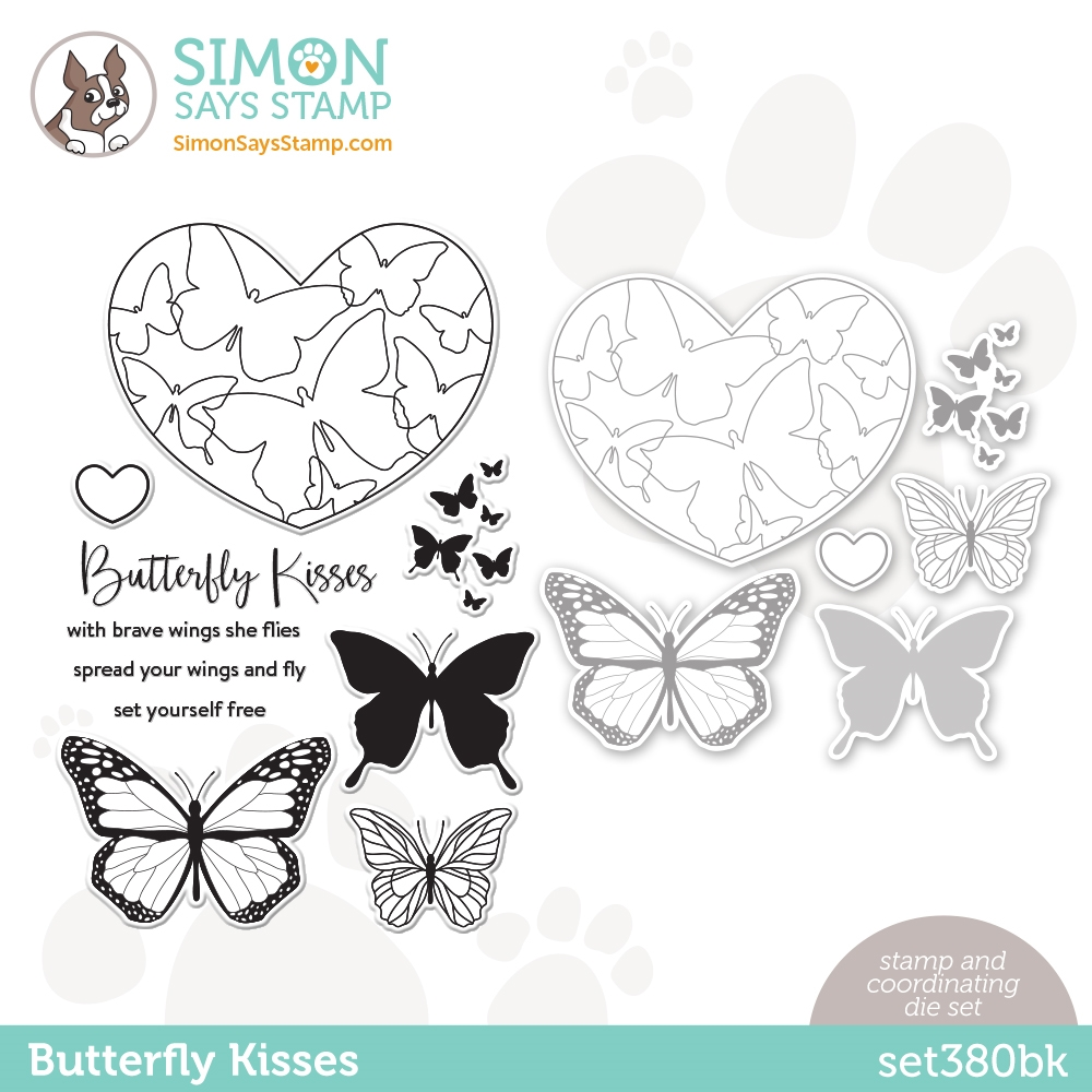 Simon Says Stamps and Dies BUTTERFLY KISSES set380bk Love You zoom image