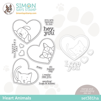 Simon Says Stamps and Dies HEART ANIMALS set381ha Love You