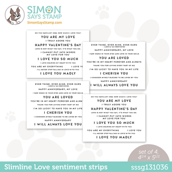 Simon Says Stamp SENTIMENT STRIPS SLIMLINE LOVE sssg131036 Love You