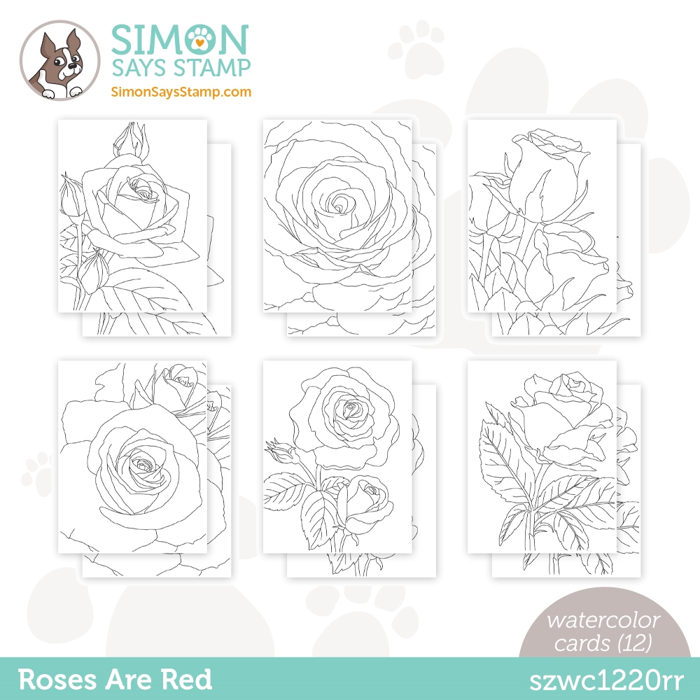 Simon Says Stamp Suzy's ROSES ARE RED Watercolor Prints szwc1220rr Love You zoom image