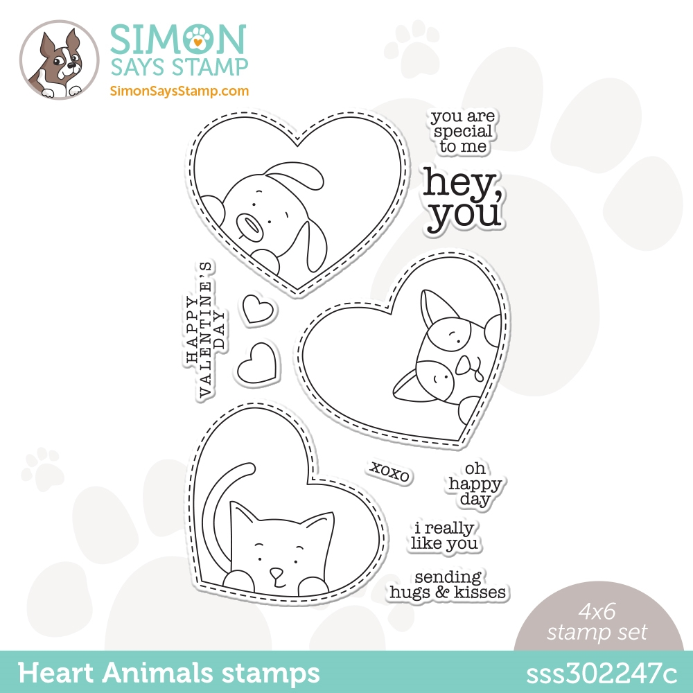 Simon Says Clear Stamps HEART ANIMALS sss302247c Love You zoom image