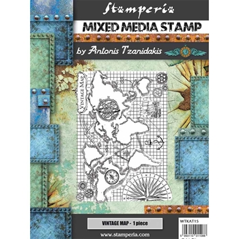 Stamperia SIR VAGABOND VINTAGE MAP Stamp wtkat15