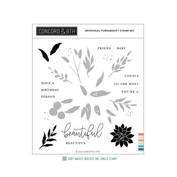 Concord & 9th BOTANICAL TURNABOUT Clear Stamp Set 11014