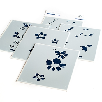 PinkFresh Studio SEAMLESS FLORAL PANEL Layering Stencil Set pfst11