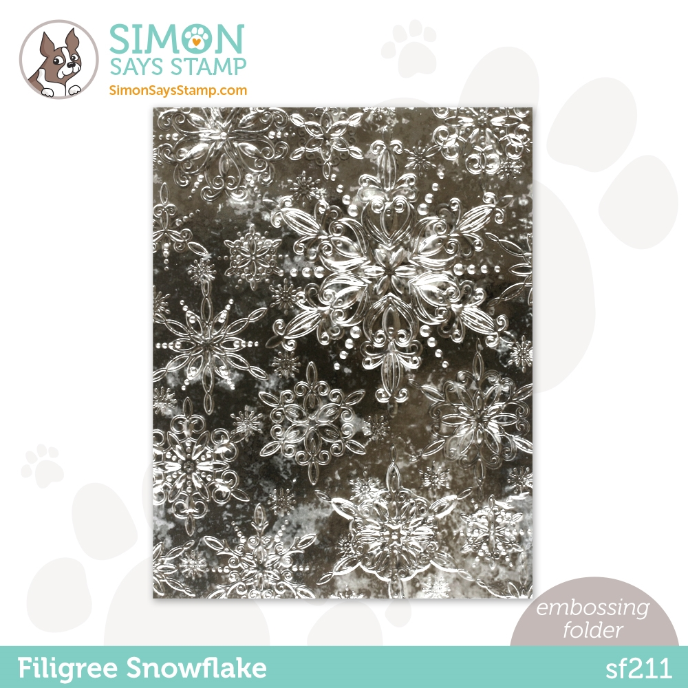 Simon Says Stamp Embossing Folder FILIGREE SNOWFLAKES sf211 zoom image