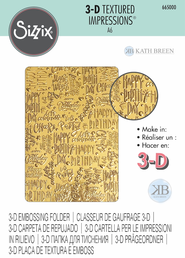 Sizzix Textured Impressions HAPPY BIRTHDAY 3D Embossing Folder 665000  zoom image