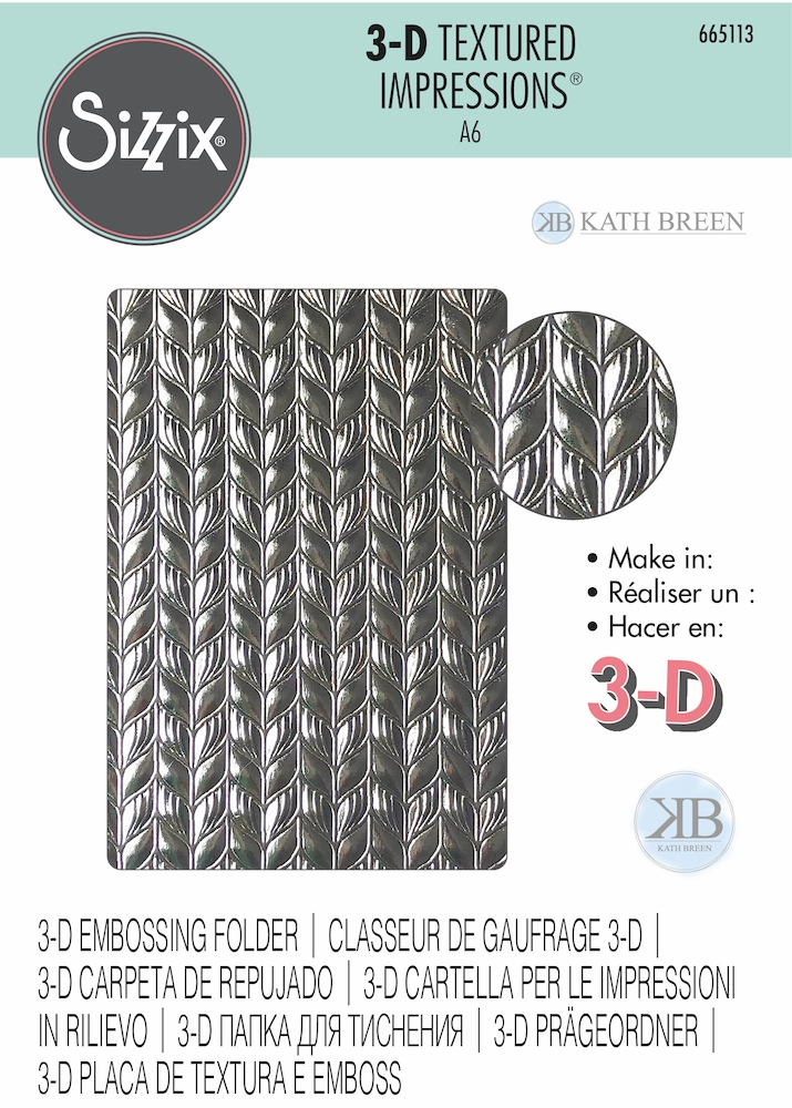 Sizzix Textured Impressions LINEAR LEAVES 3D Embossing Folder 665113 zoom image