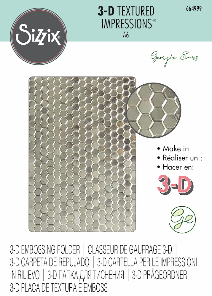 Sizzix Textured Impressions HONEYCOMB FRENZY 3D Embossing Folder 664999   zoom image