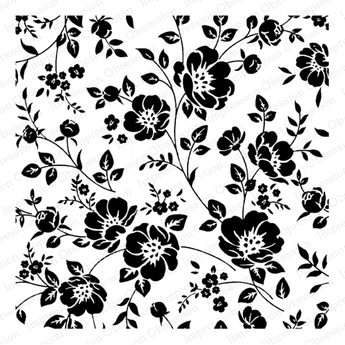 Impression Obsession Cling Stamp PEONY PATTERN SQUARE H20915 Preview Image