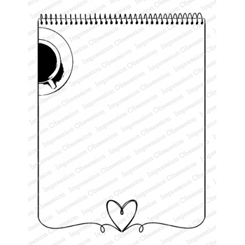 Impression Obsession Cling Stamp HEART NOTEPAD K20909
