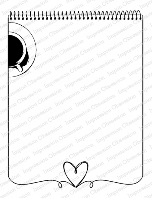 Impression Obsession Cling Stamp HEART NOTEPAD K20909 zoom image