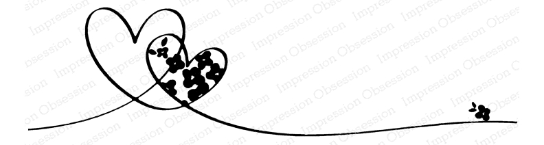Impression Obsession Cling Stamp FLORAL HEART LINE E20904 zoom image