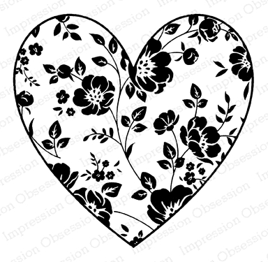 Impression Obsession Cling Stamp PEONY HEART D20899 Preview Image