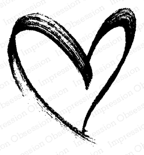 Impression Obsession Cling Stamp BRUSH HEART D20900 Preview Image