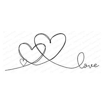 Impression Obsession Cling Stamp TRIPLE HEART LOVE G20903