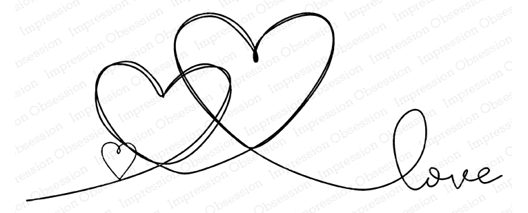 Impression Obsession Cling Stamp TRIPLE HEART LOVE G20903 zoom image