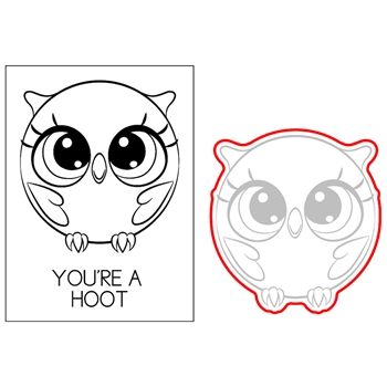 Brutus Monroe HOOT THE OWL Roundimals Stamp and Die bru2457