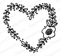 Impression Obsession Cling Stamp FLORAL HEART C12324 Preview Image