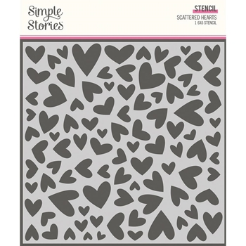 Simple Stories SWEET TALK SCATTERED HEARTS 6 x 6 Stencil 14325