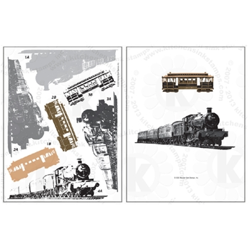 Kitchen Sink Stamps STEAM TRAIN AND CABLE CAR kss073