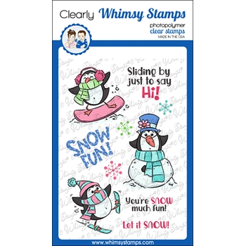 Whimsy Stamps SNOW FUN PENGUINS Clear Stamps KHB170a