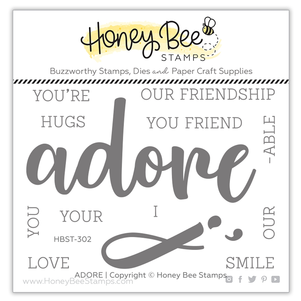 Honey Bee ADORE BUZZWORD Clear Stamp Set hbst302* zoom image