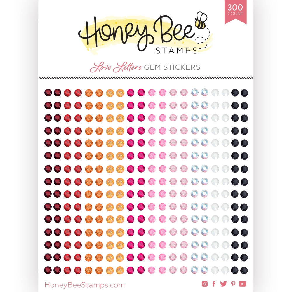 Honey Bee Love Letters Gem Stickers