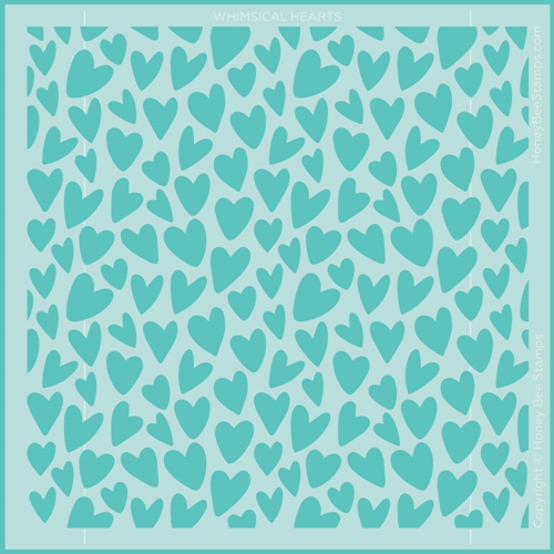 Honey Bee WHIMSICAL HEARTS Stencil hbsl077 Preview Image