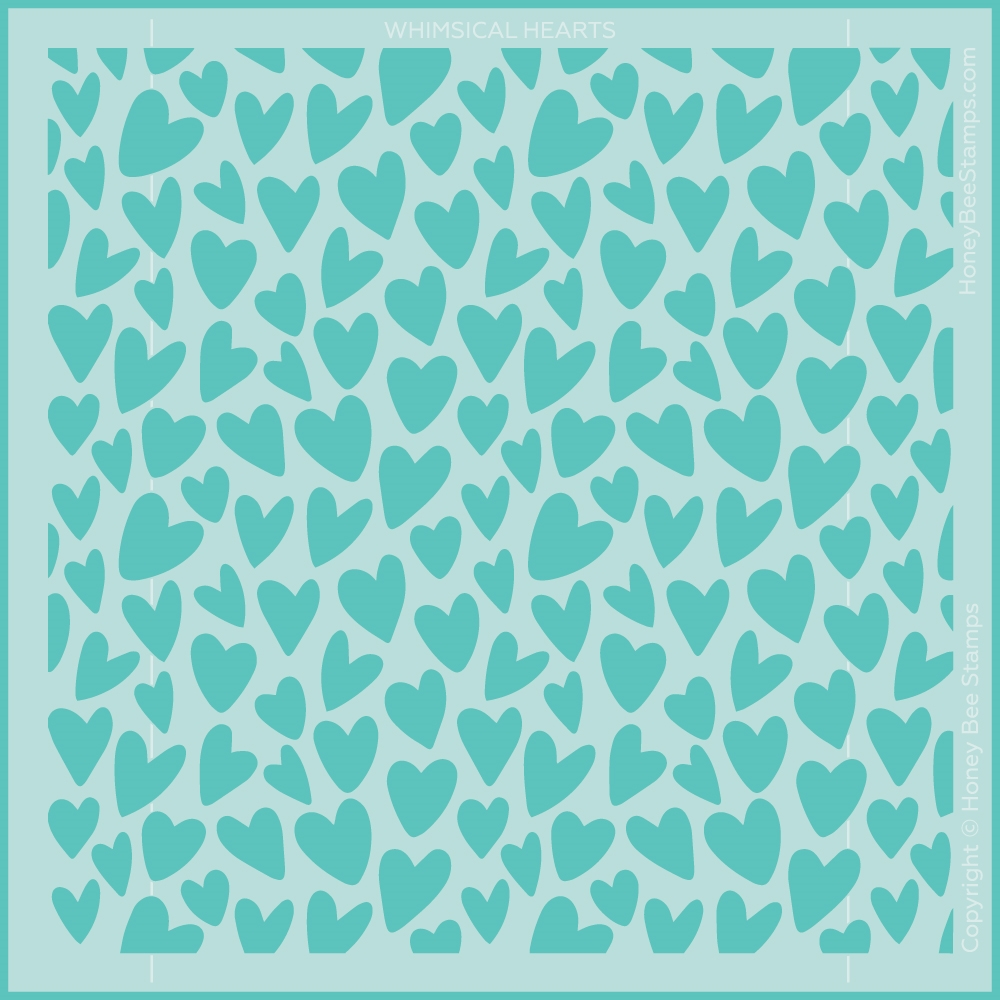 Honey Bee WHIMSICAL HEARTS Stencil hbsl077 zoom image