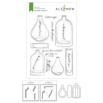 Altenew VERSATILE VASES 2 Clear Stamp, Die and Masking Stencil Bundle ALT4768