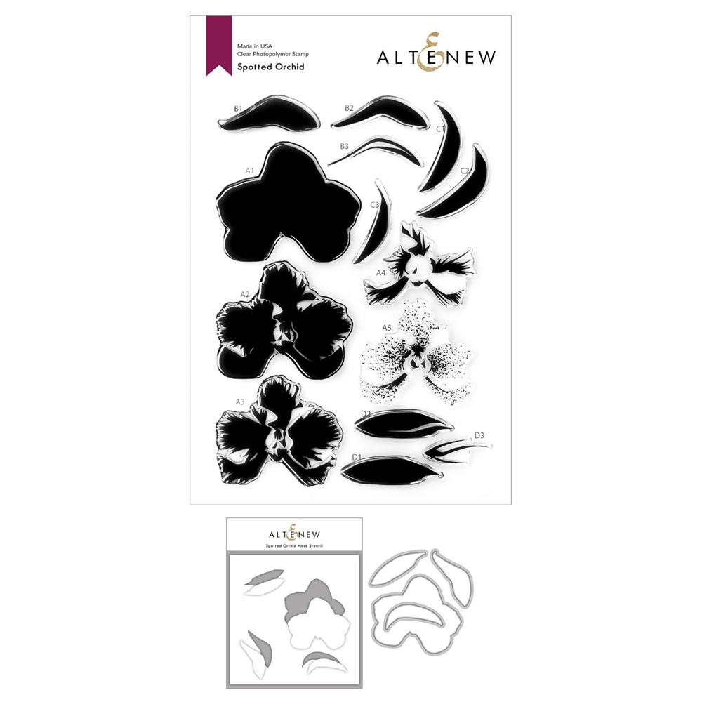 Altenew SPOTTED ORCHID Clear Stamp, Die and Mask Stencil Bundle ALT4763 zoom image