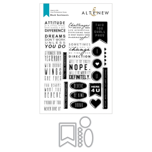 Altenew BLOCK SENTIMENTS Clear Stamp and Die Bundle ALT4757 Preview Image