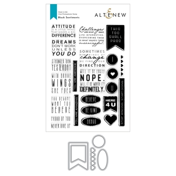 Altenew BLOCK SENTIMENTS Clear Stamp and Die Bundle ALT4757
