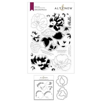 Altenew AIRBRUSHED ANEMONE FLOWERS Clear Stamp, Die and Mask Stencil Bundle ALT4751