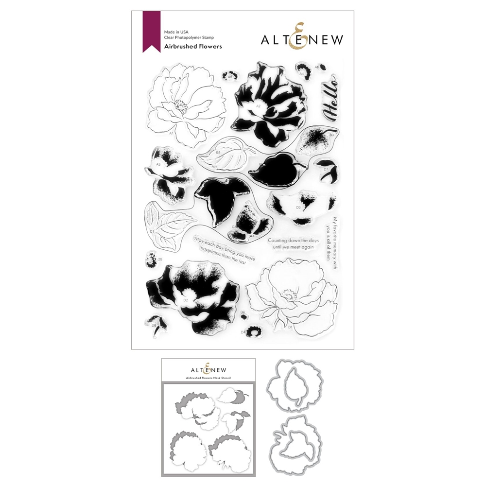 Altenew AIRBRUSHED ANEMONE FLOWERS Clear Stamp, Die and Mask Stencil Bundle ALT4751 zoom image
