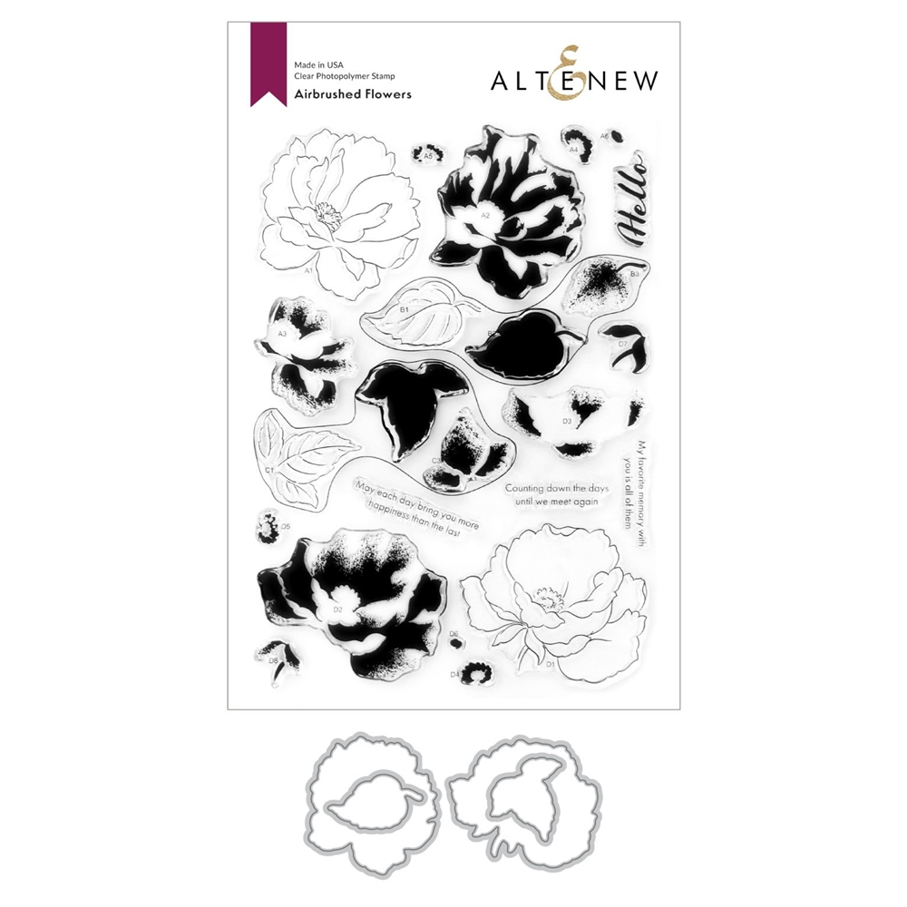 Altenew AIRBRUSHED ANEMONE FLOWERS Clear Stamp and Die Bundle ALT4750 zoom image