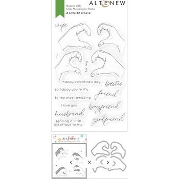 Altenew A LITTLE BIT OF LOVE Clear Stamp, Die and Mask Stencil Bundle ALT4746