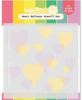 Waffle Flower HEART BALLOONS Stencil Duo WFS074