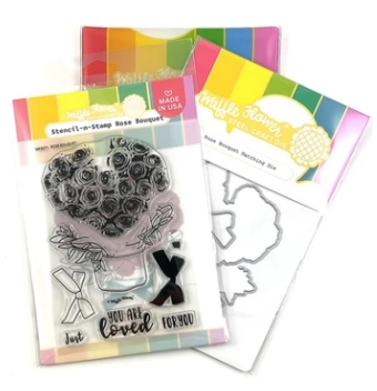 Waffle Flower ROSE BOUQUET Clear Stamp and Die Combo WFC546* zoom image