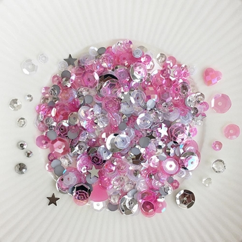 Little Things From Lucy's Cards RASPBERRY ICE Sequin Shaker Mix LBSM67*