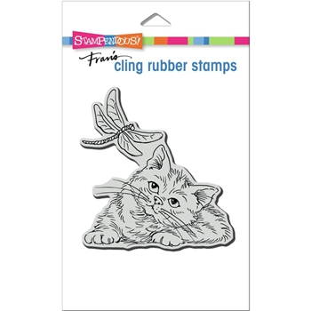 Stampendous Cling Stamp DRAGONFLY KITTEN crw219
