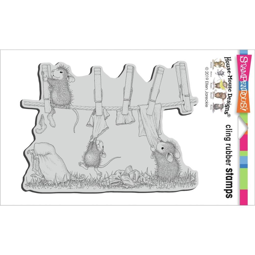 House Mouse: Doing Laundry Cling Stamp