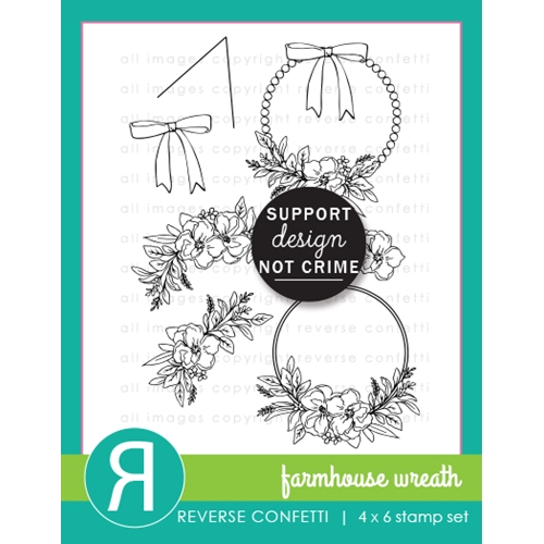 Reverse Confetti FARMHOUSE WREATH Clear Stamps  Preview Image
