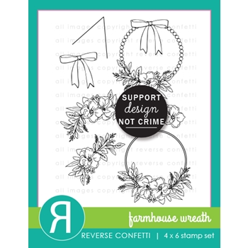 Reverse Confetti FARMHOUSE WREATH Clear Stamps