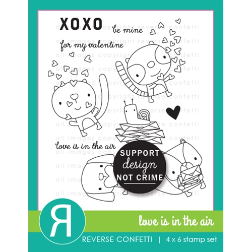Reverse Confetti LOVE IS IN THE AIR Clear Stamps  Preview Image